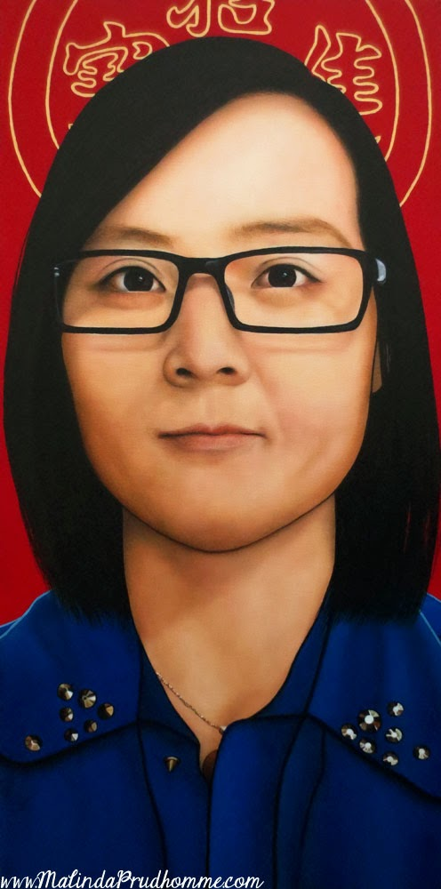 Chinese woman, chinese art, chinese lucky coin, asian woman art, beauty art, true beauty, malinda prudhomme, portrait art, toronto portrait artist, realism, portrait painting, canadian artist, realistic portraiture