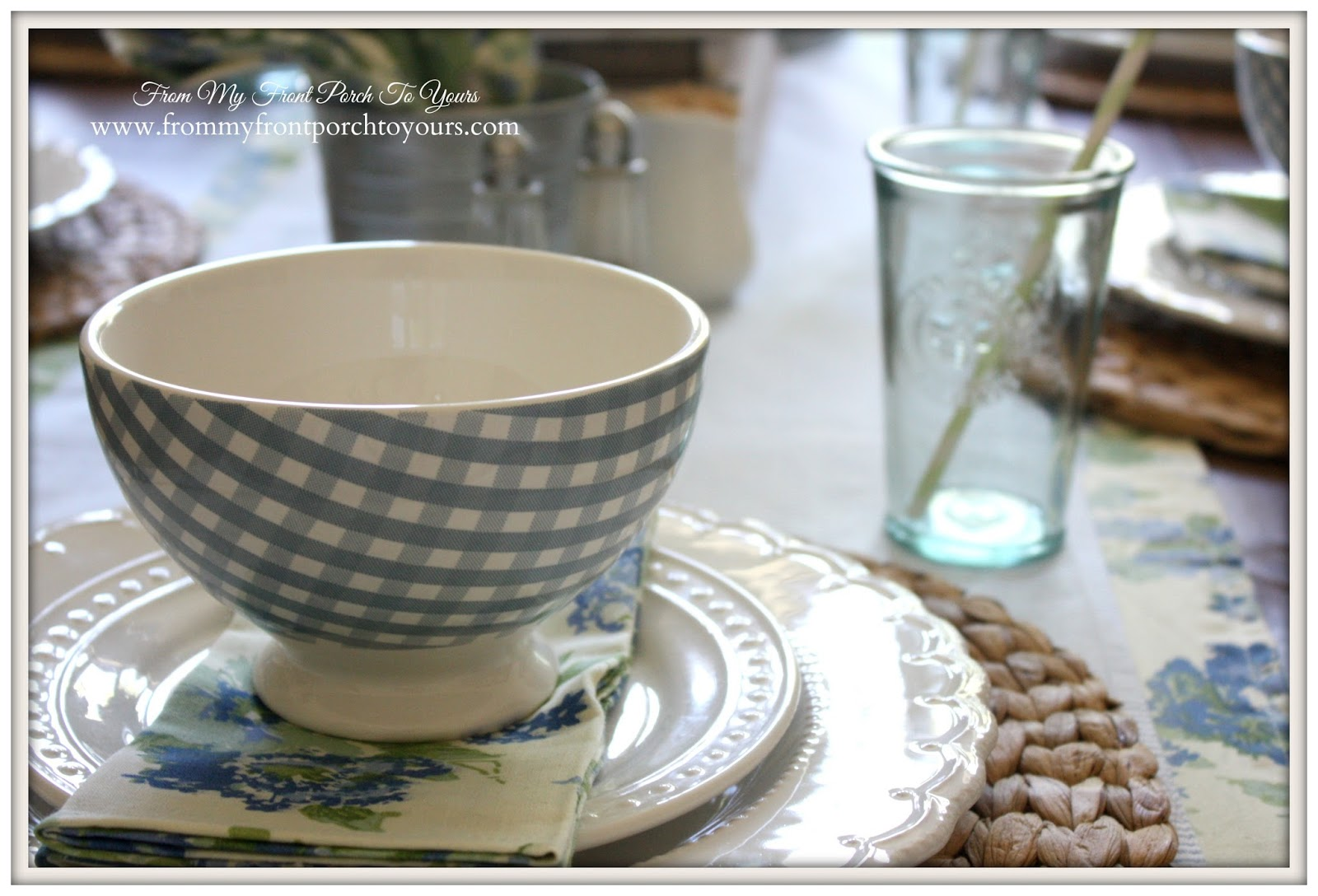 Table setting using blue gingham cereal bowls.