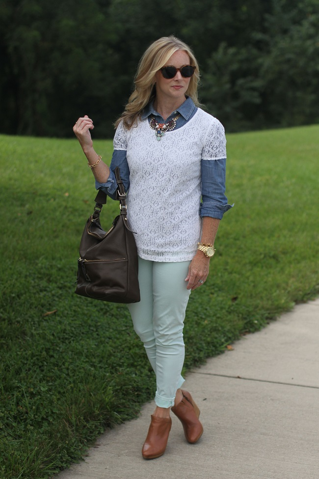 jcrew, summer lace, lulu looks, skinny jeans, jack rogers, dooney and bourke, elizabeth and james, stella and dot