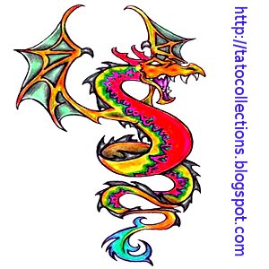 The Dragon fire Tattoo red and green