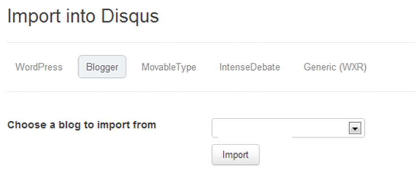 Import blogger comments into disqus