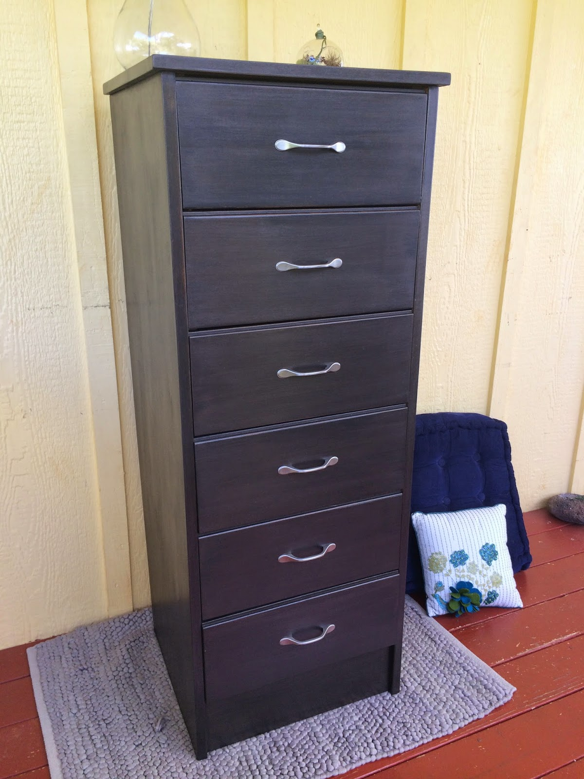 Before and After Tall Black Dresser Re-do Chalk Paint Metallic Paint Martha Stewart