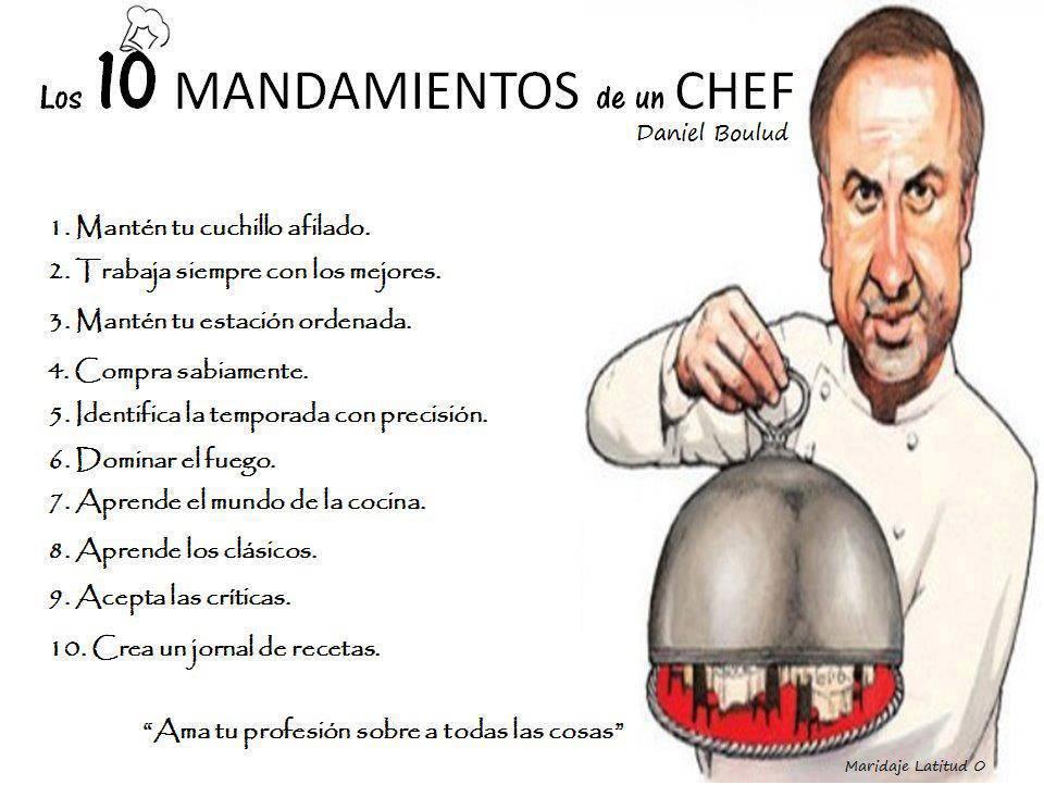 La buena pitanza los 10 mandamientos de un chef for Chef en frances