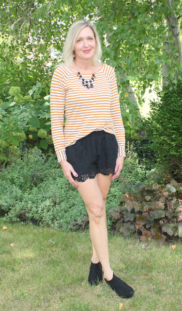 Amber Striped Top, Black Lace Shorts, Booties