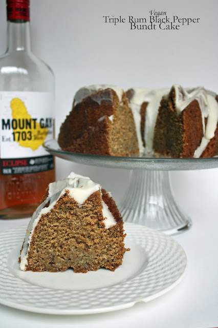 vegan triple rum back pepper bundt cake