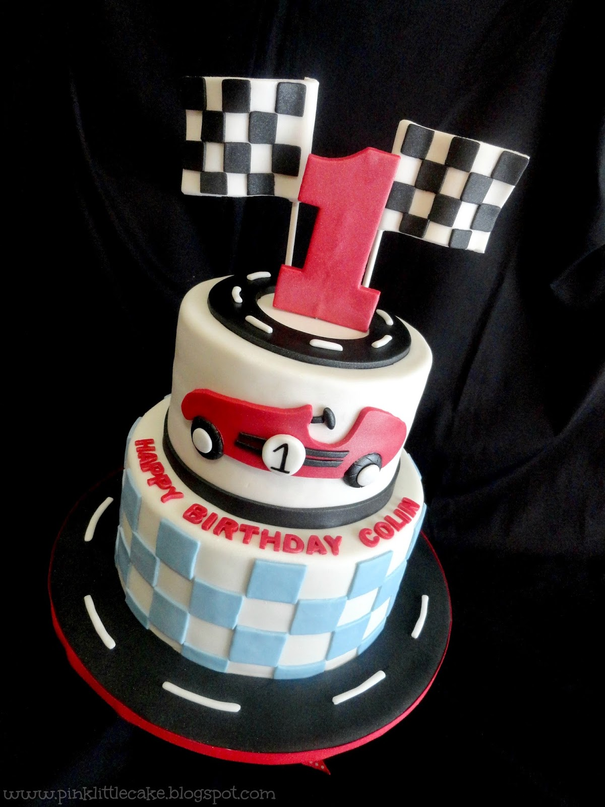 Cake Design Cars Theme : Pink Little Cake: Race Car Theme 1st Birthday Cake