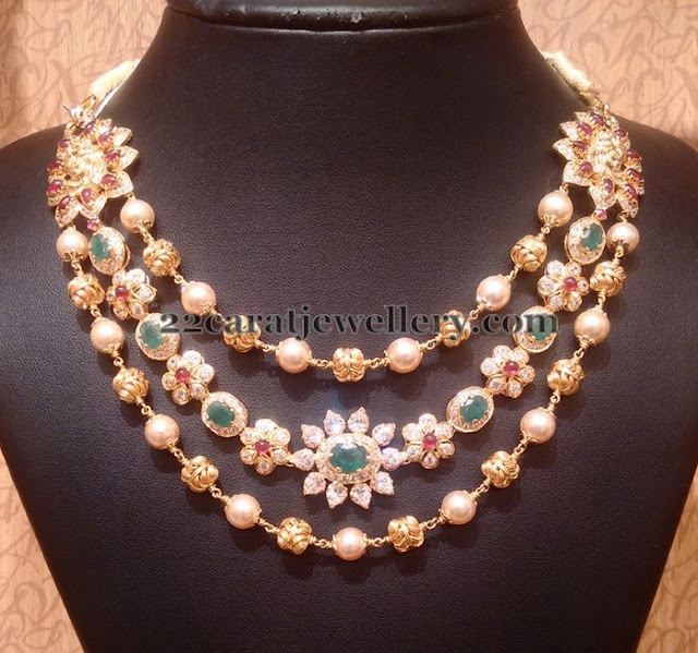 Triple Layer Pearl and CZ Necklace