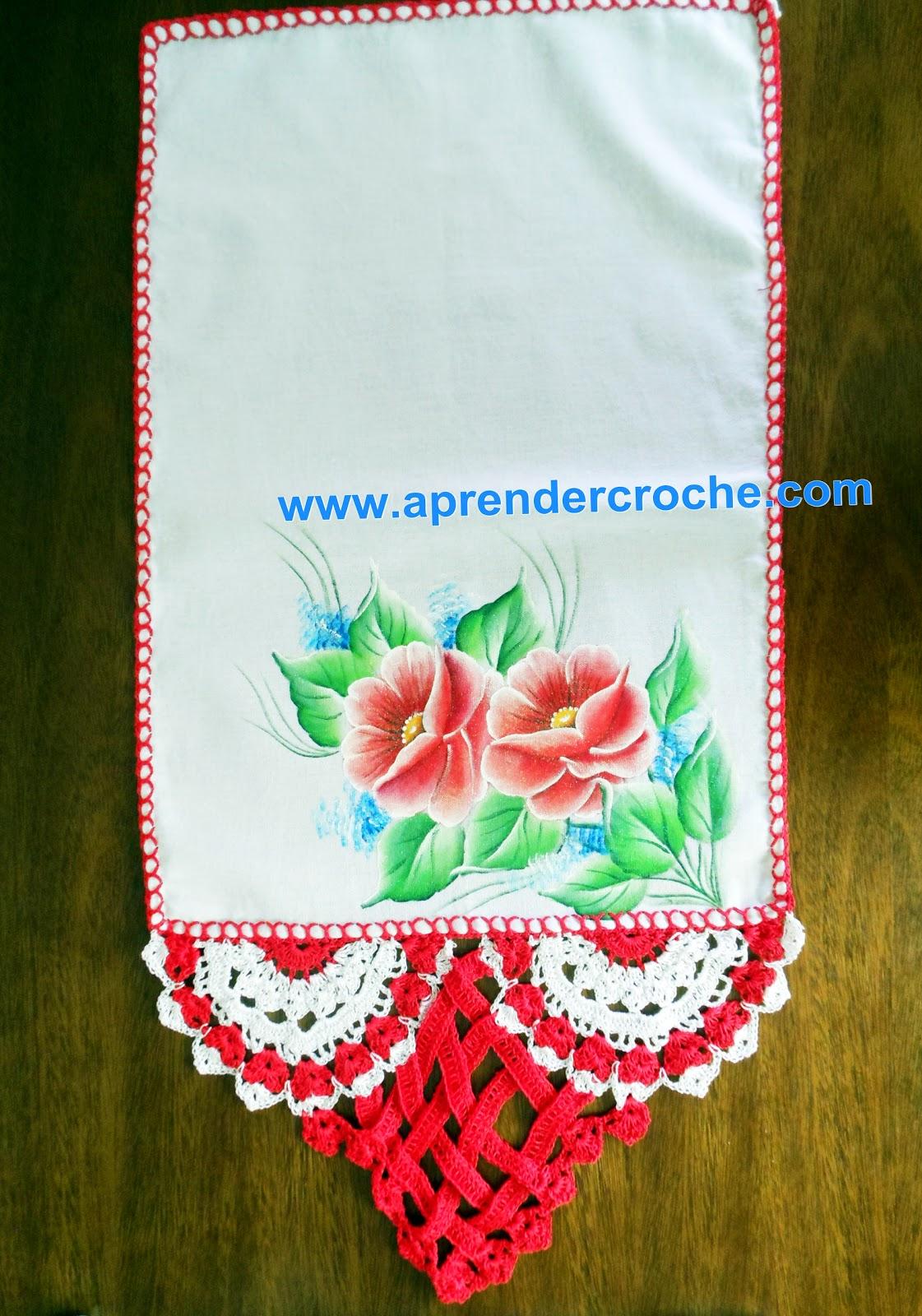 barrados entrelaçados branco vermelho aprender croche dvd edinir-croche panos de copa cozinha loja frete gratis