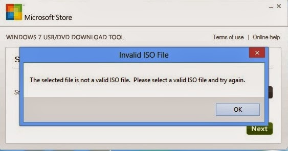 Windows 7 USB /DVD Download Tool Error