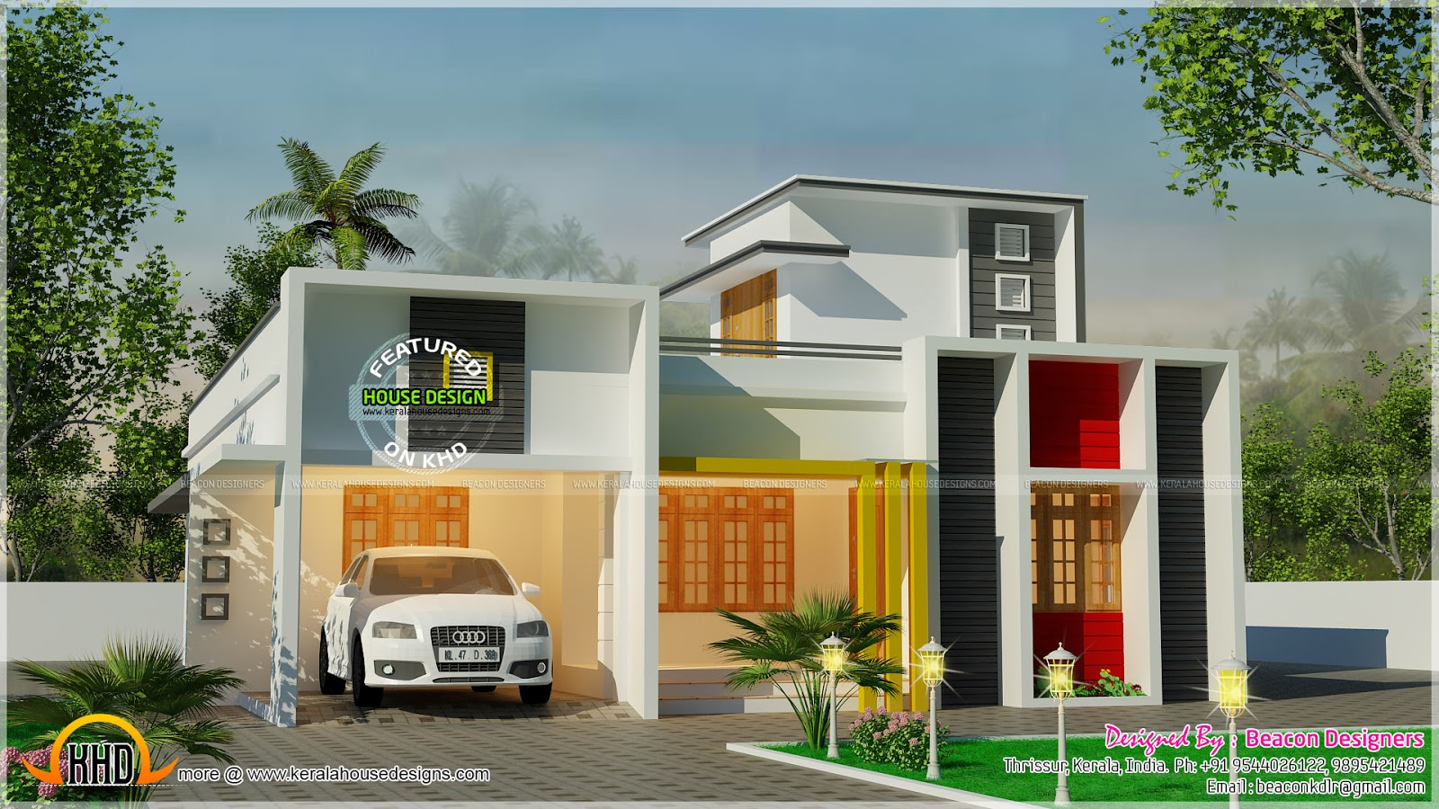 One floor flat roof 3 bedroom house kerala home design for One floor house images