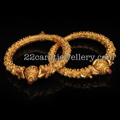 Gold Kankanalu With Rubys Jewellery Designs