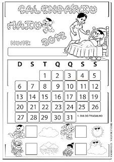 Calendário Turma da Mônica Maio com e sem numeração