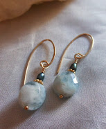 Aquamarine and Freshwater Pearl Earrings