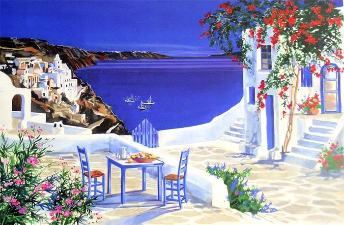 André Savy | French Landscape painter | Santorini Walkway - Greek islands