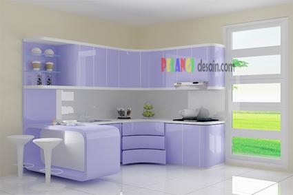 kitchenset pelangi desain interior kitchen set warna ungu