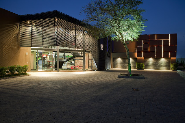 Modern house entrance at night