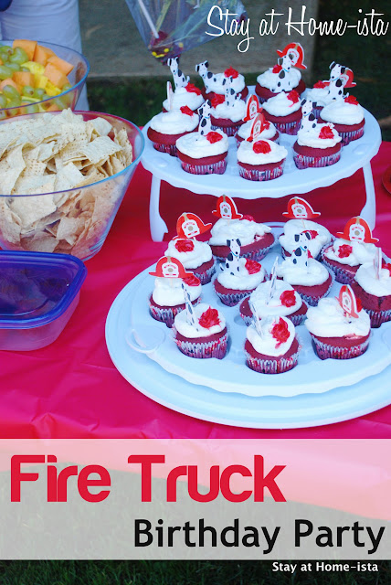 4 year old's fire truck birthday party, complete with a visti to the fire station!