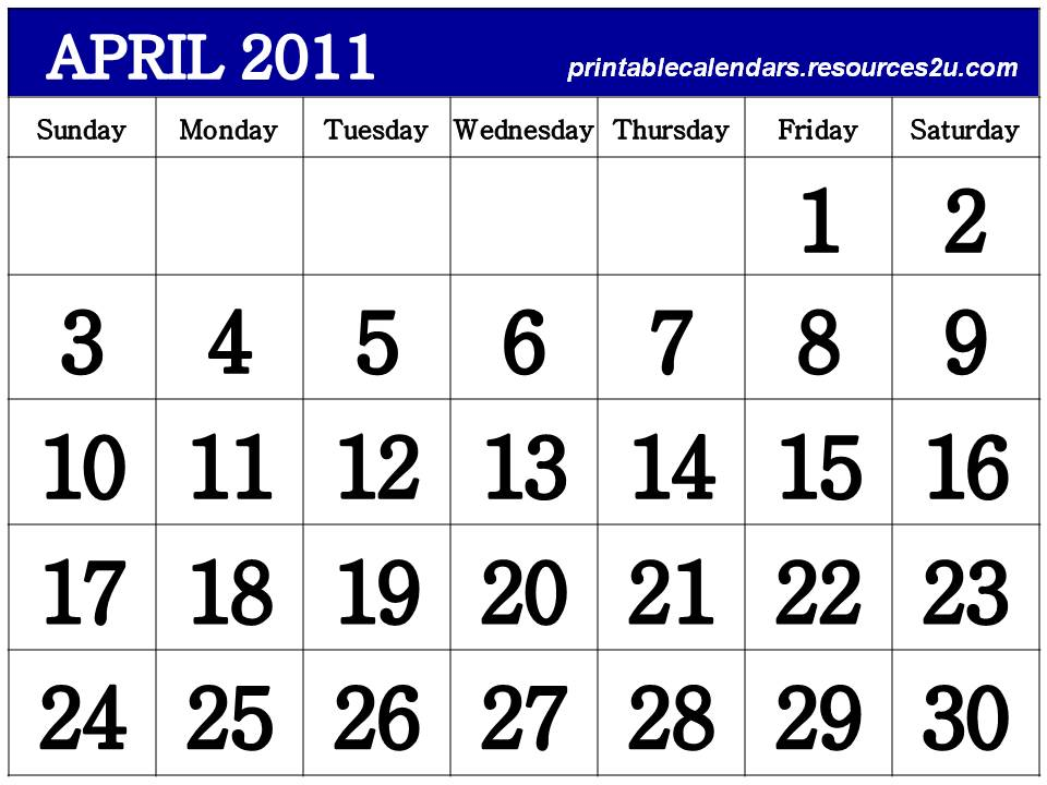 2011 calendar printable april. CALENDAR 2011 PRINTABLE APRIL
