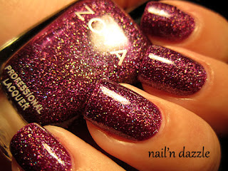Zoya, holo, holographic, pink, burgundy, ornate, nail'n, nail, dazzle