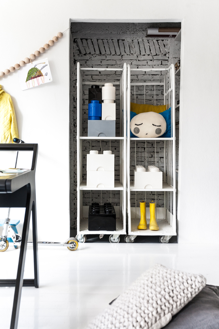 industrial storage in kids room - styling Paulina Arcklin