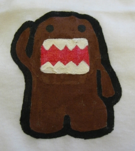 Domo-kun onesie, painted with a freezer paper stencil