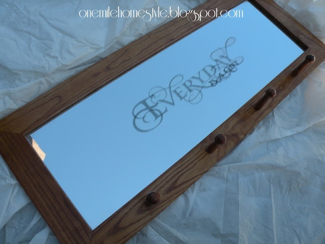 Oak framed mirror with pegs - before