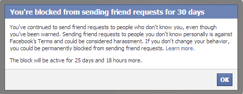 Friend Request blocked