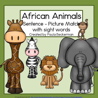 https://www.teacherspayteachers.com/Product/African-Animals-Sentence-Picture-Match-1653740