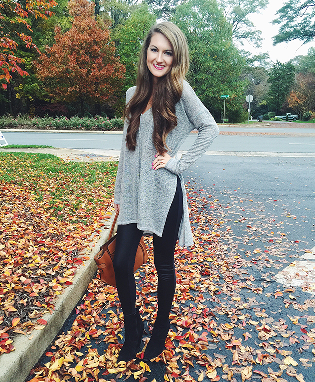 faux leather leggings... cute outfit!