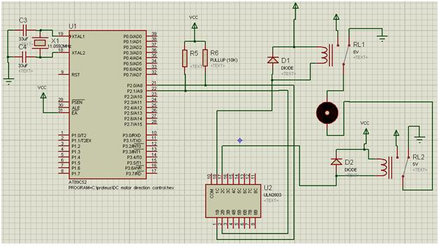 Controlling the DC motor direction using two relays and ULN driver