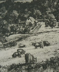 close up of etching by Doug Osa, PS member
