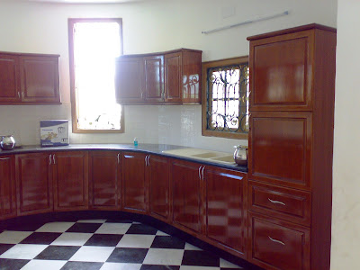 teak wood finish - modular kitchen