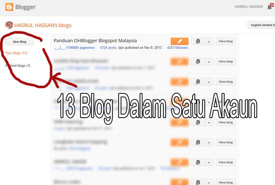 Satu akaun Google Blogspot - banyak blog