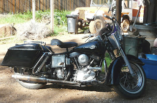 Black 1965 Harley Panhead motorcycle