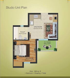 Golf Country, Yamuna Expressway :: Floor Plans,Golf Suites:-Studio Unit Plan Plot Area: 590 Sq. Ft.