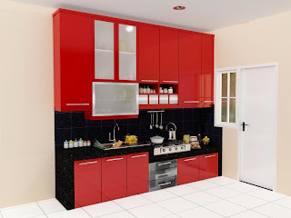 kitchen set, kitchen set murah, finishing hpl, kitchen single line, meja beton