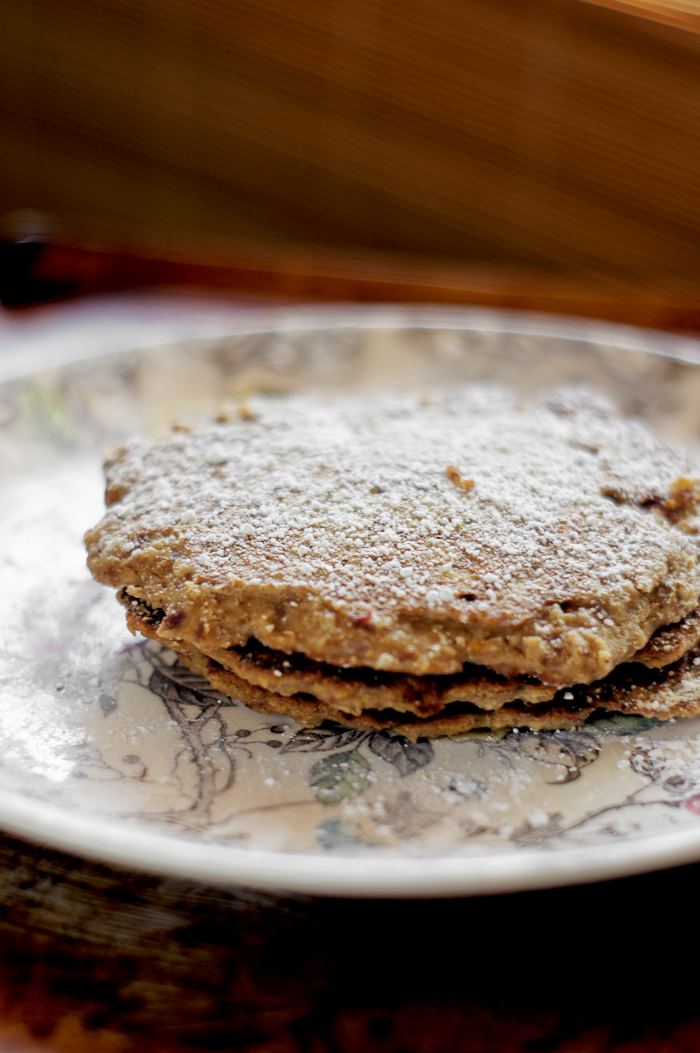 Coconut Carrot Oatmeal Pancakes | thumb in plum