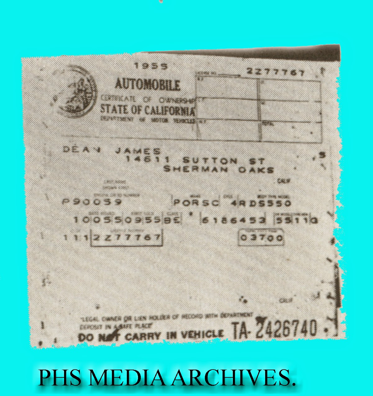 Lost Star Cars James Deans Porsche 550 Spyder Updated W News Of 1969 Bronco Wiring Diagram The Engine Serial Number And Body Are Plainly Visible On This Photostat Ownership