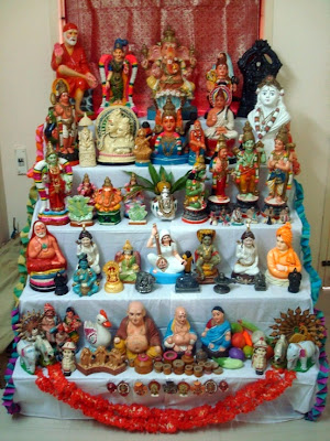 Images of Navaratri Golu or Hindu Gods idol arrangment for Dasara Festival