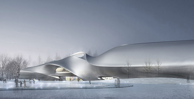 Rendering of new museum as seen from the street in winter landscape
