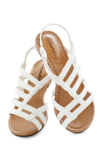 White Leather Strap Sandals
