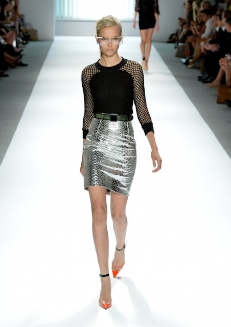 Milly Spring Summer 2013 Runway Leather Skirt Metallic Silver
