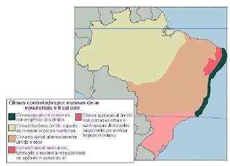 clima controlado por passas de ar equatoriais e tropicais