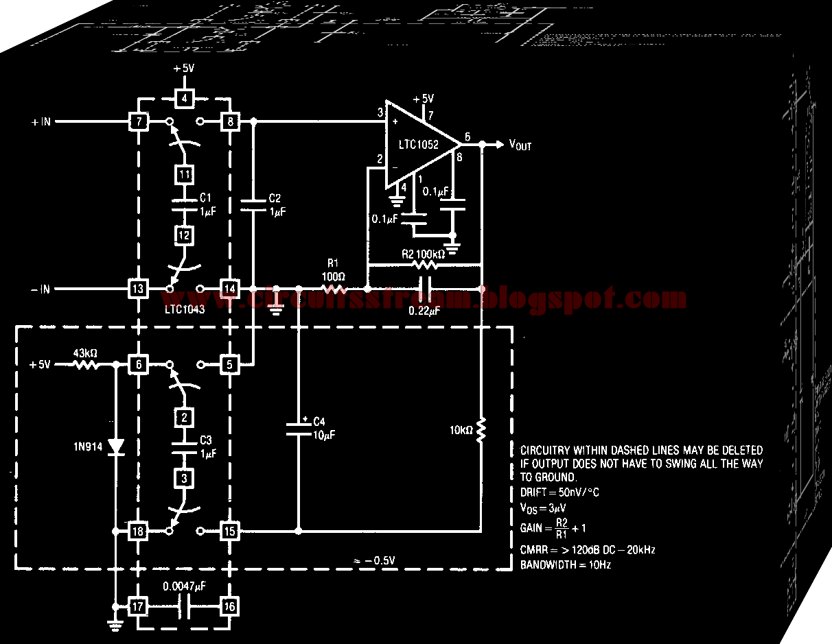 Precision Instrumentation Amplifier Circuit Diagram The Ltc1052 Measures Voltage Across C2 And Provides Circuits Output Gain Is Set By Ratio Of Amplifiers Feedback Resistors