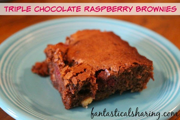 Triple Chocolate Raspberry Brownies   Fudgy chocolatey delicious brownies with raspberries - such a decadent dessert! #recipe #SecretRecipeClub