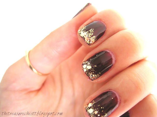 osblood burgundy glitter gold tip nails w7 gold dazzle saffron glitter