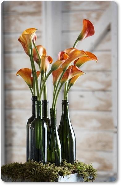 blommor vinflaska