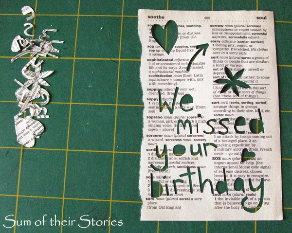 Paper cut dictionary page message card