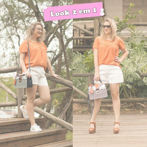 Look 2 em 1: Shorts Alfaiataria e Bata Laranja - Barred-s
