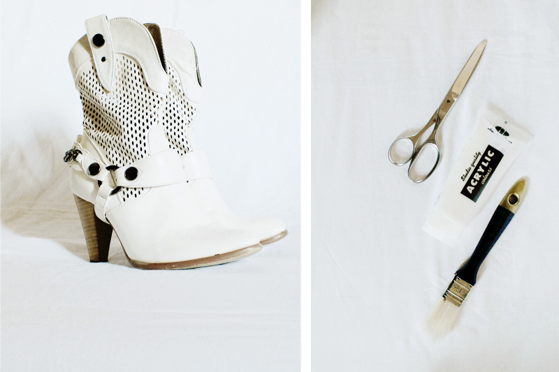 diy white ankle boots